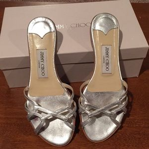 Jimmy Choo Holden Silver Sandals 36.5